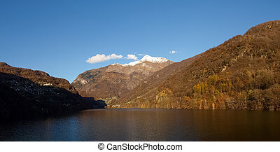 Lake of Contra - Dam of Contra Verzasca Ticino, Switzerland:...