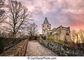 castillo, Frankenstein, en, Odenwald, Darmstadt, alemania,