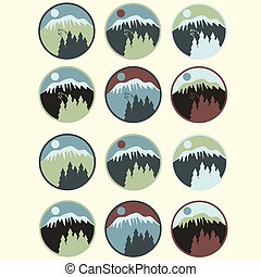 set of vintage labels with mountain,pines and wolf