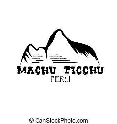 Machu Picchu mountain of Peru vector design template
