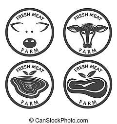 fresh meat vintage labels set