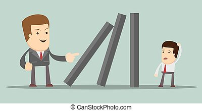 Domino effect. Vector - Businessman toppling dominoes....