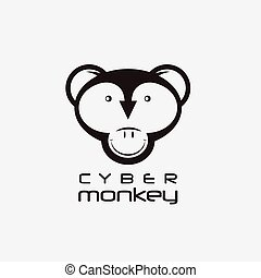 cyber monkey computer shop vector design template