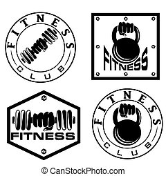 hand holding barbell and kettlebell in emblems of fitness