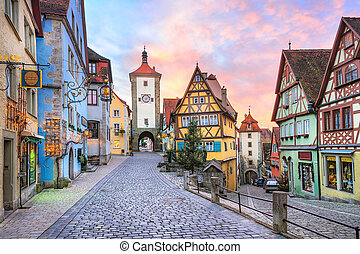 Colorful half-timbered houses in Rothenburg ob der Tauber,...
