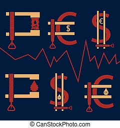 dollar, euro and oil barrel in clamp ,financial concept