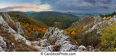 Fall forest mountain panorama