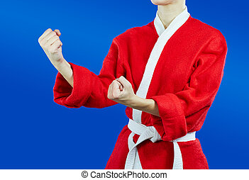 Sportswoman standing in rack - Sportswoman dressed as Santa...