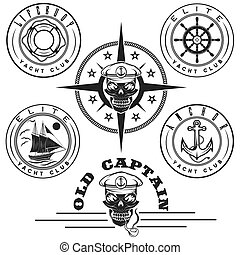 set of vintage labels with boat ,captain skull ,wheel,anchor...
