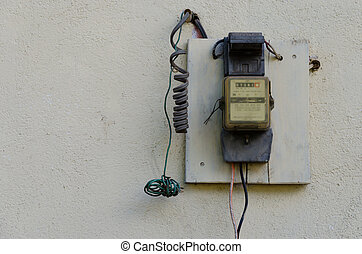 Energy meter - Old energy metter with wires, Sri Lanka