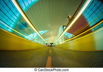 Airport moving walkway - A moving walkway or moving sidewalk...