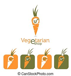 vegetarian e shop illustration with carrot and shopping cart