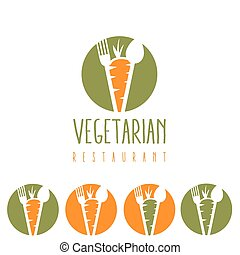 vegetarian restaurant illustration with carrot,spoon and fork