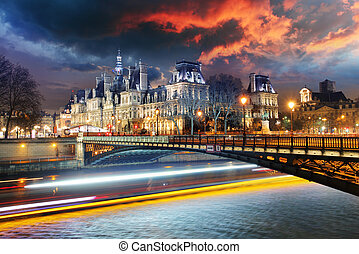 Paris city hall at night - Hotel de Ville