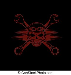 skull in helmet and wrenches with flames