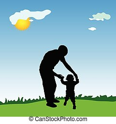 father and daughter walking in the park illustration