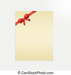 Shiny red satin ribbon on a paper