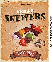 Grunge And Vintage Kebab Skewers Poster