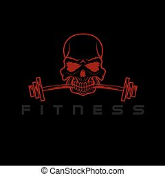 skull holding barbell in the teeth