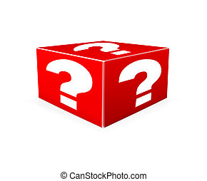 White question marks on red box Illustration - White...