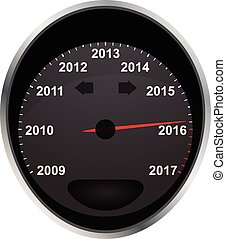 2016 odometer - illustration of years odometer, 2016 year