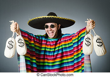 Mexican man with money sacks