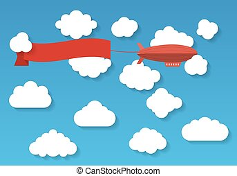 Airship in the cloudy sky Flat vector illustration - The...