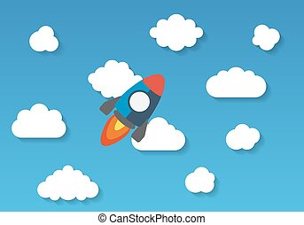 Space rocket flying in sky, flat design colored vector illustrat