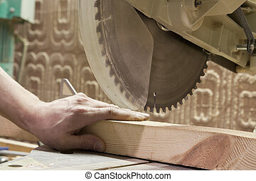 Carpenter using electric saw - Carpentry Carpenter working...