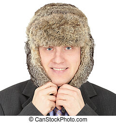 Russian businessman in fur hat on white background