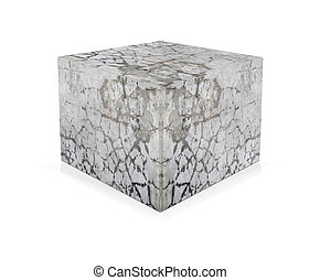 Concrete cube isolated on white background. The concept of...