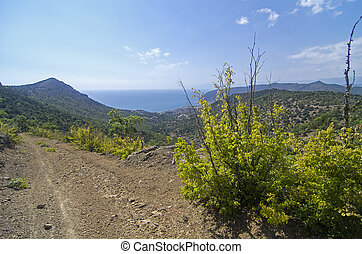 Side sea view from a mountain dirt road Crimea, September