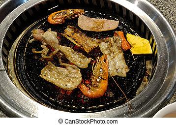 churrasqueira, Coréia,  BBQ, alimento