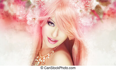 Beautiful woman artwork - Beautiful woman in a soft,...