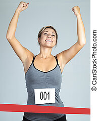 Fit woman marathon runner - isolated over white background -...