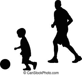 son and dad playing foootball
