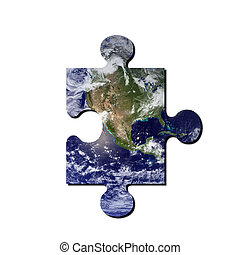 Earth jigsaw puzzle - A picture of the earth with jigsaw cut...