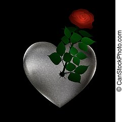 flower and stone heart - big stone broken heart with rose...
