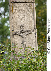 Old Wayside shrine in Mucharz near Cracow. Poland