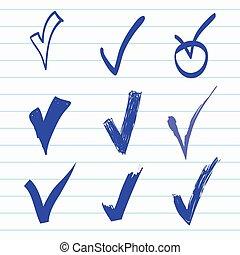 Vector set of Hand-drawn check