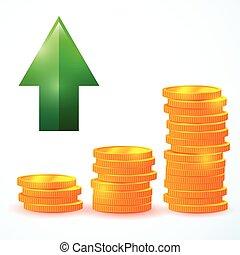 financial growth, vector coins