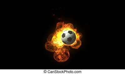 Animated soccer Ball on Fire over black background