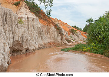 Ham Tien canyon near Mui Ne - Red river in the Ham Tien...