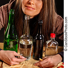 Girl in depression drinking alcohol - Young woman in...