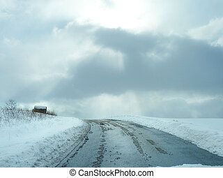 Winter Farm Road - beautiful scenic road through...