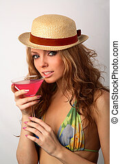 girl in bikini with a cocktail - girl in a bikini with a...