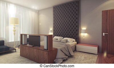 Interior view of hotel rooms 3d