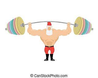 Santa Claus and barbell. Bench press barbell above his head....