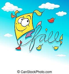 yellow kite flying on blue sky - ve