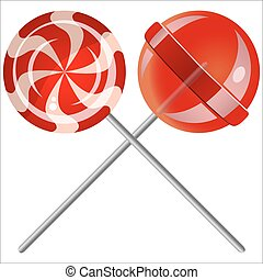 lollipops - sweet candy lollipops on white background